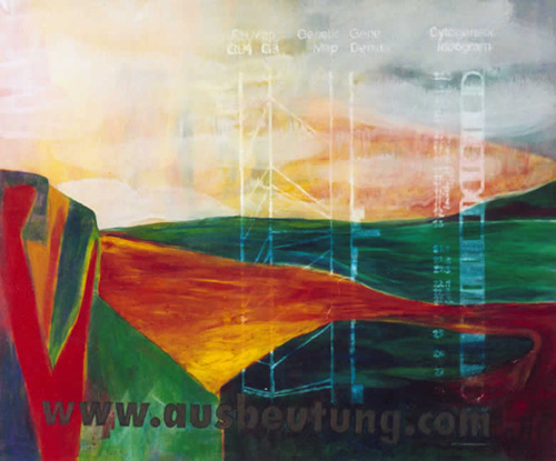 ausbeutung.com by Hans Braumüller, 100 x 120 cm, Acryl and Oil on canvas, 2001