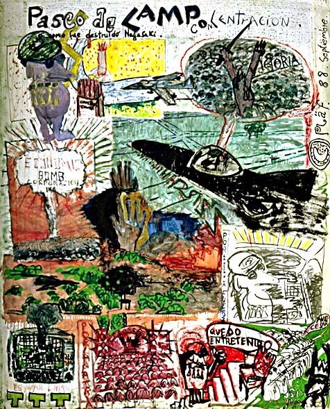 campo de concentracion, 100 x 120 cm mix media on paper, 1988